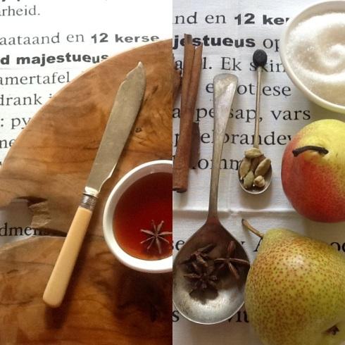 Die bestanddele gee klaar die geheim weg! die klaar koek word met die speserye-wynsous bedien waarin die pere gekook het.