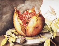 17de eeuse skilder Guiseppa Garzoni se granaat op die marmerbord stel lewe, dood en wedergeboorte voor.