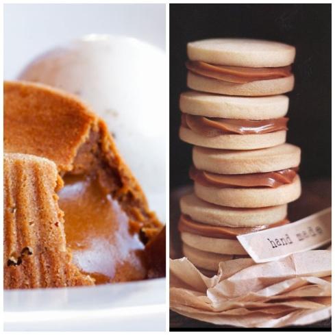 Begeerlike karamellooppoeding en alfojores-broskoekies